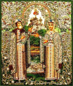 Святые Пётр и Феврония. Образа в каменьях